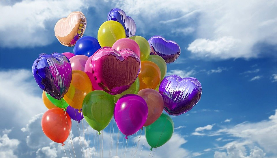 Balloons, Heart, Sky, Decoration, Party